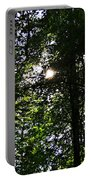 Sun Through Trees In Forest Portable Battery Charger