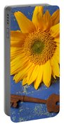 Sunflower And Skeleton Key Portable Battery Charger by Garry Gay