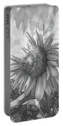 Sunflower Dawn Black And White Drawing Portable Battery Charger