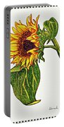Sunflower In Gouache Portable Battery Charger