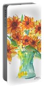 Sunflower Medley II Watercolor Painting By Kmcelwaine Portable Battery Charger