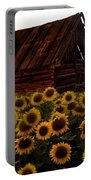 Sunflower Morning With Barn Portable Battery Charger