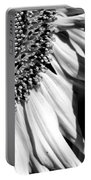 Sunflower Petals In Black And White Portable Battery Charger
