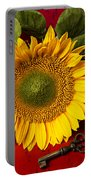 Sunflower With Old Key Portable Battery Charger