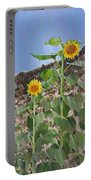 Sunflowers And A Stone Wall Portable Battery Charger