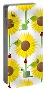 Sunflowers And Bees Portable Battery Charger