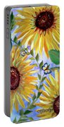 Sunflowers And Butterflies Portable Battery Charger