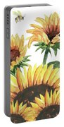 Sunflowers And Honey Bees Portable Battery Charger