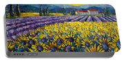 Sunflowers And Lavender Field - The Colors Of Provence Modern Impressionist Palette Knife Painting Portable Battery Charger