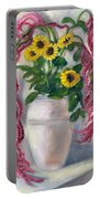 Sunflowers And Love Lies Bleeding Portable Battery Charger