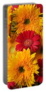 Sunflowers And Red Mums Portable Battery Charger