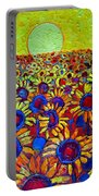 Sunflowers Field At Sunrise Portable Battery Charger