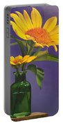 Sunflowers In A Green Bottle Portable Battery Charger