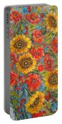 Sunflowers In Blue Pitcher. Portable Battery Charger