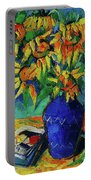 Sunflowers In Blue Vase Portable Battery Charger