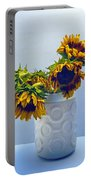 Sunflowers In Circle Vase Blue Tournesols Portable Battery Charger