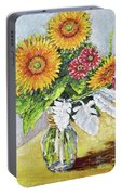 Sunflowers In Glass Vase Portable Battery Charger