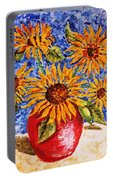 Sunflowers In Red Vase. Portable Battery Charger