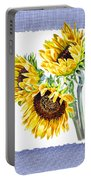 Sunflowers On Baby Blue Portable Battery Charger