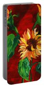Sunflowers On Rojo Portable Battery Charger