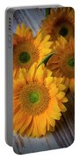 Sunflowers On White Boards Portable Battery Charger