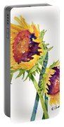 Sunflowers On White Portable Battery Charger