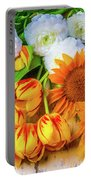 Sunflowers Tulips Portable Battery Charger