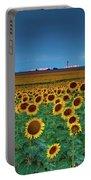 Sunflowers Under A Stormy Sky By Denver Airport Portable Battery Charger