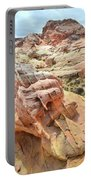 Sunlight On Colorful Boulder Above Wash 3 In Valley Of Fire Portable Battery Charger