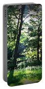 Sunlight Through Trees And Fence Portable Battery Charger