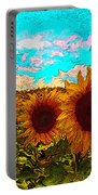 Sunny Faces- Sunflower Art Portable Battery Charger