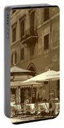 Sunny Italian Cafe - Sepia Portable Battery Charger by Carol Groenen