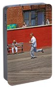 Sunny Morning On A Boardwalk In Brighton Beach, Brooklyn, New York Portable Battery Charger