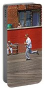 Sunny Morning On A Boardwalk In Brighton Beach  Portable Battery Charger