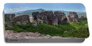 Sunny Panorama Of Greek Meteora Portable Battery Charger