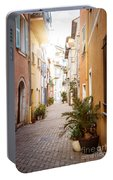 Sunny Street In Villefranche-sur-mer Portable Battery Charger