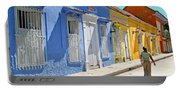 Sunny Street With Colored Houses - Cartagena-colombia Portable Battery Charger