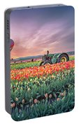 Sunrise, Hot Air Balloon And Moon Over The Tulip Field Portable Battery Charger
