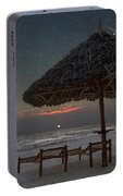 Sunrise In Tropical Beach Of Zanzibar With Starry Sky Portable Battery Charger