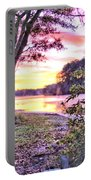 Sunrise Over A Misty Pond Portable Battery Charger