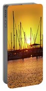 Sunrise Over Long Beach Harbor - Mississippi - Boats Portable Battery Charger