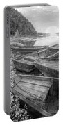 Sunrise Rowboats  In Black And White Portable Battery Charger