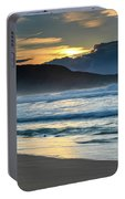 Sunrise Seascape With Headland And Clouds Portable Battery Charger