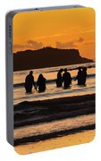 Sunrise Seascape With People Silhouettes Portable Battery Charger