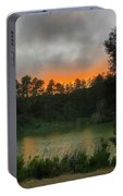 Sunset Above The Forest And Lake Portable Battery Charger
