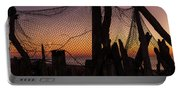 Sunset And Fishing Net Cape May New Jersey Portable Battery Charger