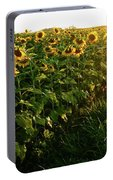 Sunset And Rows Of Sunflowers Portable Battery Charger