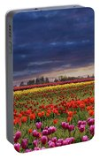 Sunset At Colorful Tulip Field Portable Battery Charger