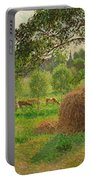 Sunset At Eragny Portable Battery Charger by Camille Pissarro