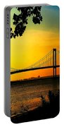 Sunset At The Delaware Memorial Bridge Portable Battery Charger